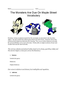 Context Clues Activity (words taken from The Monsters Are Due On Maple Street)