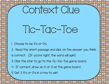 Context Clues Tic-Tac-Toe SmartBoard Game