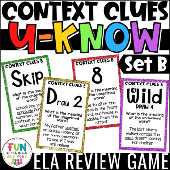 Context Clues U-Know Game for Literacy Centers: Vocabulary