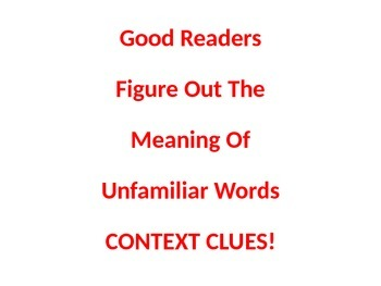 Context Clues/Unfamiliar Words Poster/PP