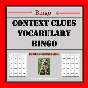 Context Clues Vocabulary Bingo (30 pre-made cards!)
