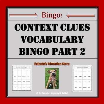 Context Clues Vocabulary Bingo Part II (30 pre-made cards!)