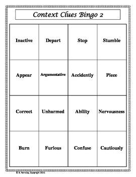 Context Clues Vocabulary Bingo Part II (30 pre-made cards!)