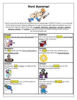 Context Clues (Word Mysteries Activity)