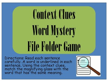 Context Clues - Word Mystery File Folder Game