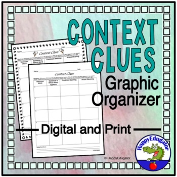 Context Clues Graphic Organizer Chart
