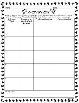 Context Clues Graphic Organizer Chart