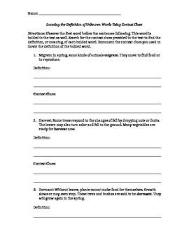 Context Clues Worksheet!