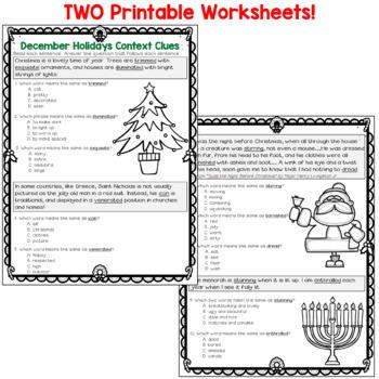 Context Clues Worksheets- Christmas/Hanukkah (test prep)