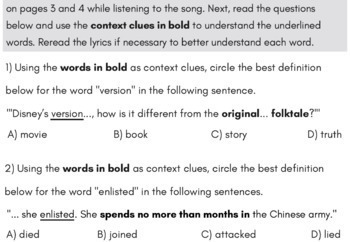 Context Clues Fiction Passage with Questions Using Mulan Rap Song