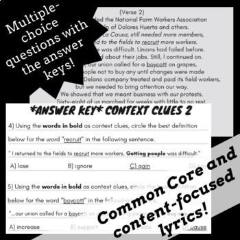 Context Clues Worksheets: Context Clues Passages and Questions with Songs #2
