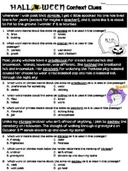 Context Clues Worksheet- Halloween by Deb Hanson | TpT
