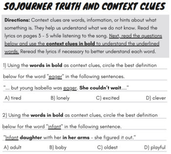 Context Clues Worksheets Nonfiction: Context Clues Passage & Questions w/ Song