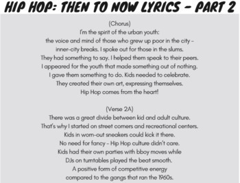 Context Clues Activity for Middle School with Reading Passage Using Rap Song