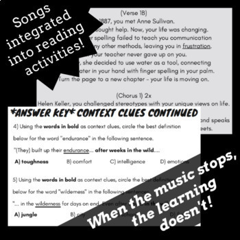 Context Clues Worksheets for Middle School with Passages Based on Rap Songs