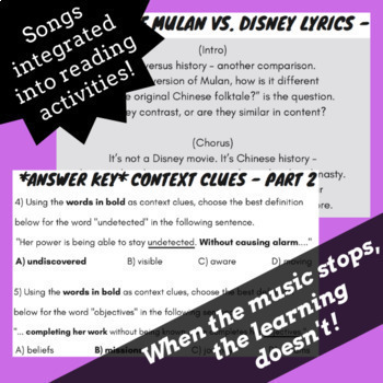 Context Clues Worksheets and Passages Using Fiction Texts Based on Rap  Songs #1