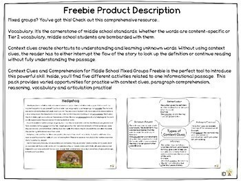Context Clues and Comprehension for Middle School Mixed Groups Freebie