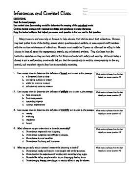 Context Clues and Inferences Worksheet