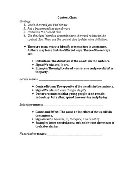 Context Clues and Vocabulary - Activity + 3 differentiated worksheets