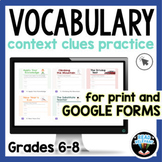Context Clues Passages for Vocabulary Comprehension 6th 7t