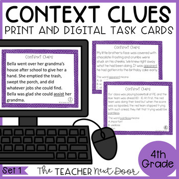 Context Clues Task Cards for 4th Grade Set 1