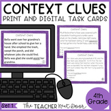 Context Clues Task Cards for 4th Grade Set 1 Print and Dig