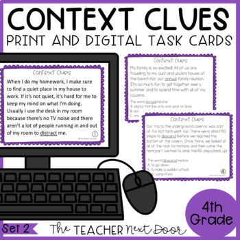 Context Clues Task Cards for 4th Grade Set 2