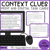 Context Clues Task Cards 4th Grade Set 2 Print and Digital