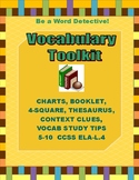 Vocabulary Bundle of Context Clues, Study Tips, Thesaurus, Charts & More 5-9