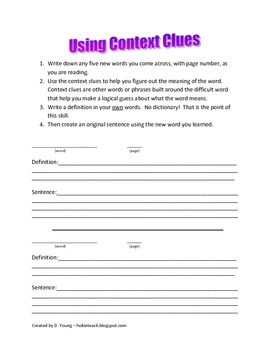 Context Clues for use during Independent Reading or Reading Workshop