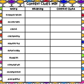 Context Clues in Literature Activity or Center - CCSS RL.5.4