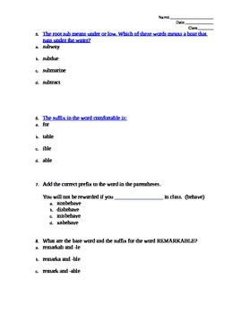 Context Clues with Word Parts Test