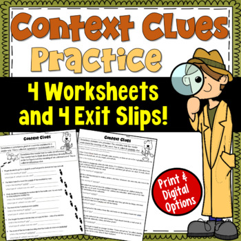 Context Clues Worksheets and Exit Tickets (focusing on 5 types of clues)