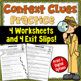 Context Clues Worksheets and Exit Tickets   PDF and Digital  