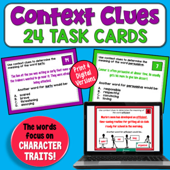 Context Clues/Character Trait Task Cards