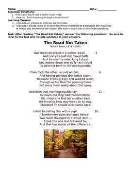 """Context Clues/Word Meanings: """"The Road Not Taken"""""""