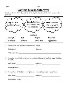 Context Clues_Antonym Clues_Middle School