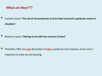 Context Relevant Terms Summarizing Lesson