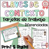 Spanish Context Clues Task Cards / Claves de contexto / Reading