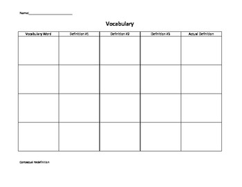 Contextual Redefinition Vocabulary Strategy Templates by Mrs ...