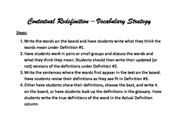 Contextual Redefinition Vocabulary Strategy Templates