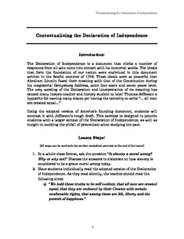 Contextualizing the Declaration of Independence