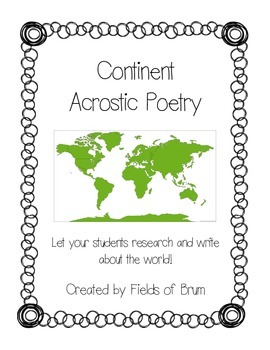 Continent Acrostic Poetry -Geography and Writing- (CCSS Aligned)
