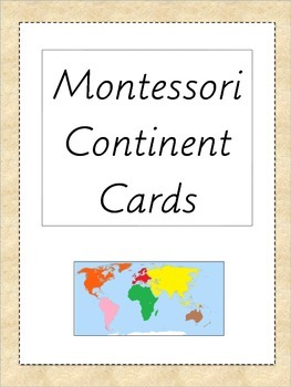 Continent Cards Montessori 3 Part Cards Geography By A