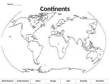 Continent Cut and Paste Worksheet