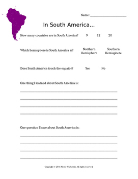 Continent: In South America...
