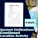Continent Location Activity for Ancient Civilizations
