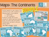Continent Maps BUNDLE! (clipart)