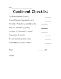 Continent Project Noes and Checklist