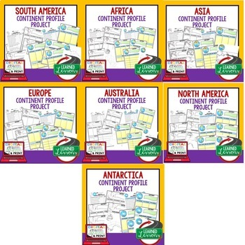 Continent Profile Project BUNDLE (Paper and Google Drive) World Geography